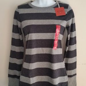 Mossimo Gray Striped Long Sleeve Top | XS